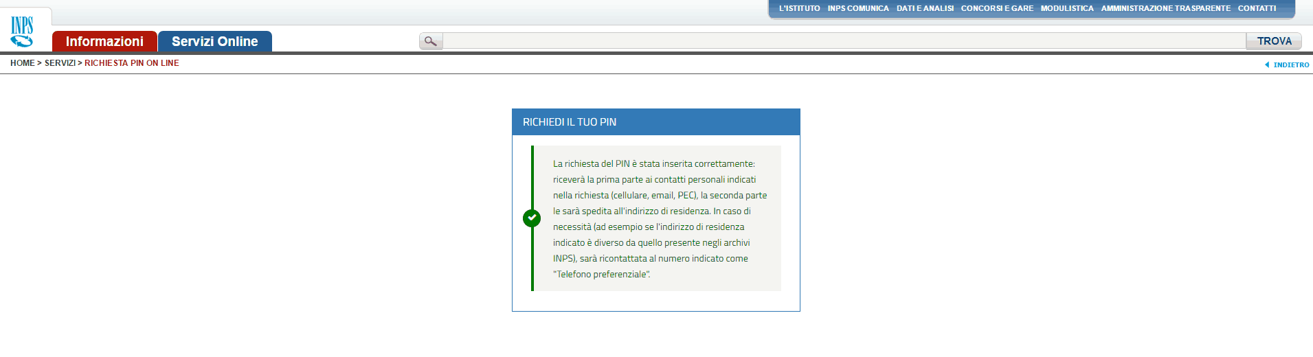 Procedura online Pin Inps