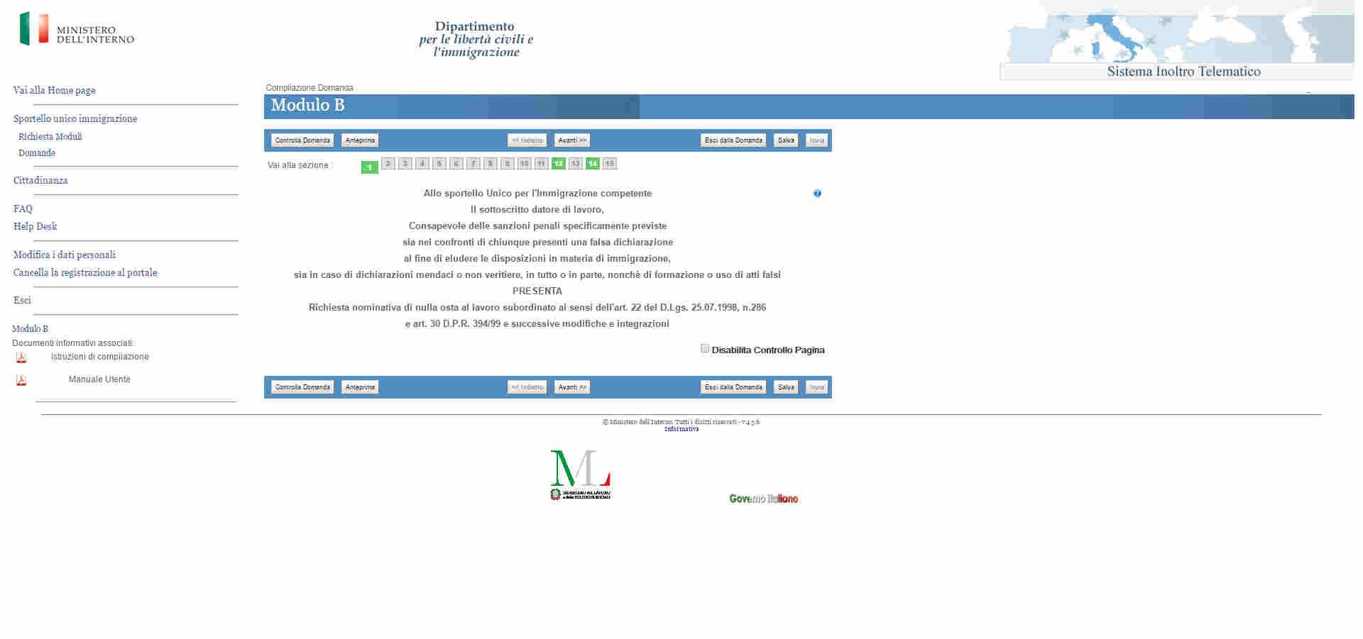 Procedura online Decreto Flussi 2017 Modulo B