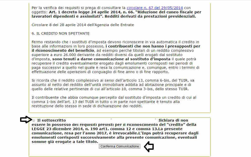 Rinuncia Bonus 80 euro su Naspi