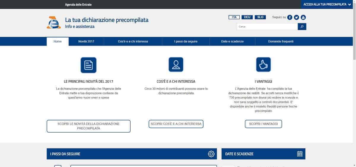 Dichiarazione precompilata 2017 Agenzia delle Entrate