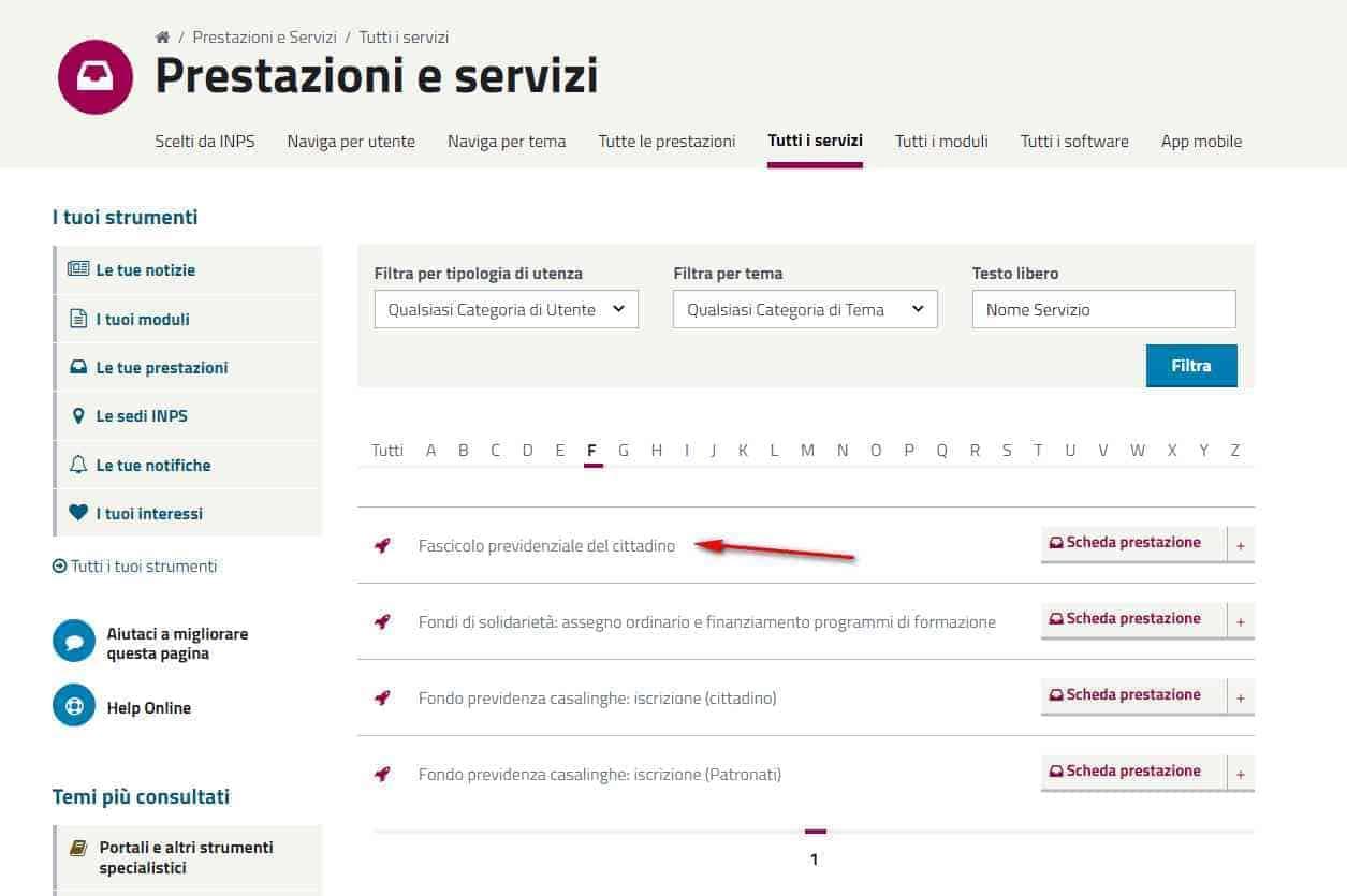 Fascicolo Previdenziale del Cittadino - Nuovo sito INPS