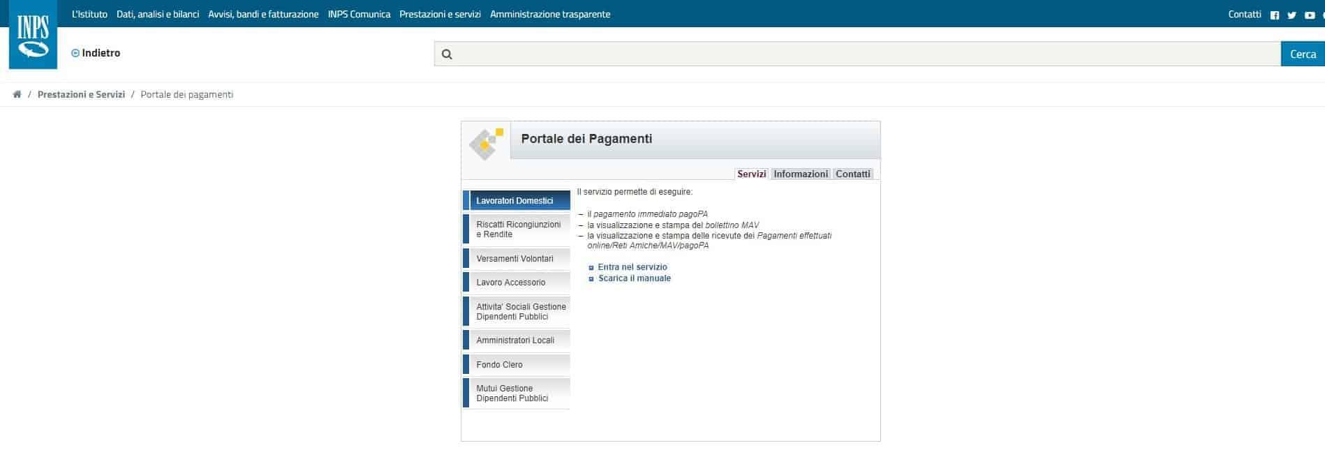Pagamenti contributi colf e badanti con Inps portale dei pagamenti
