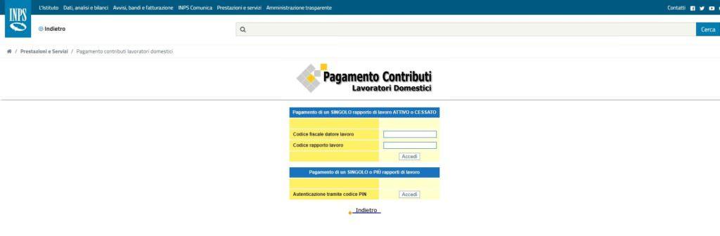Pagamenti contributi colf e badanti portale dei pagamenti Inps