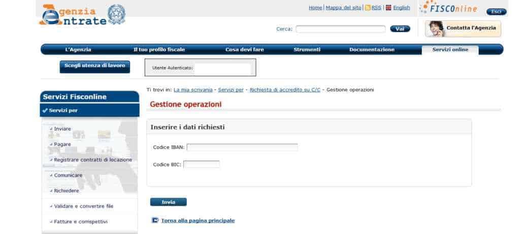 Comunicazione IBAN Agenzia delle Entrate per rimborsi fiscali