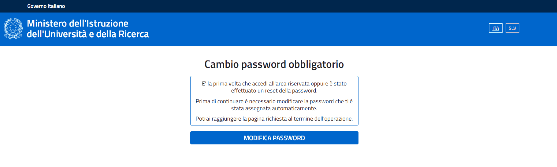 cambia password Istanze online del Miur