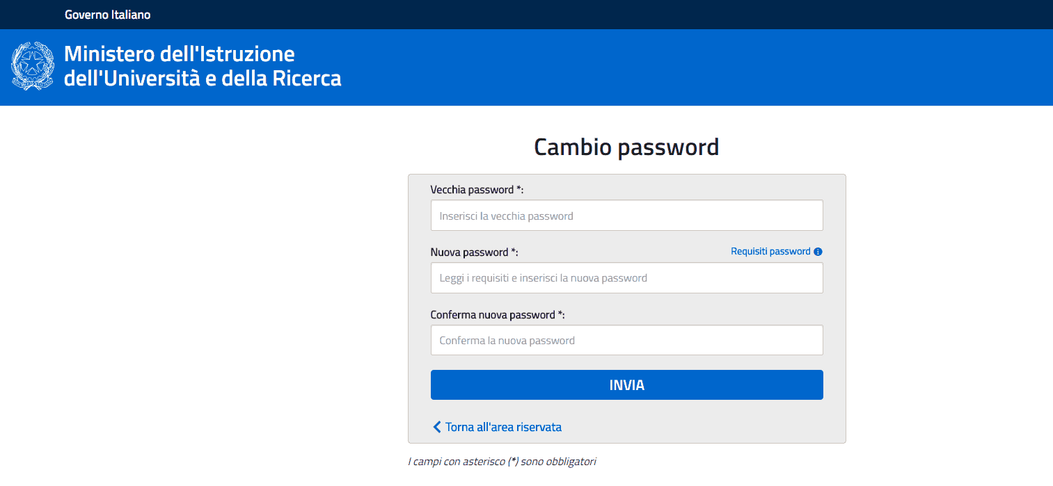 Nuova password Istanze online del Miur
