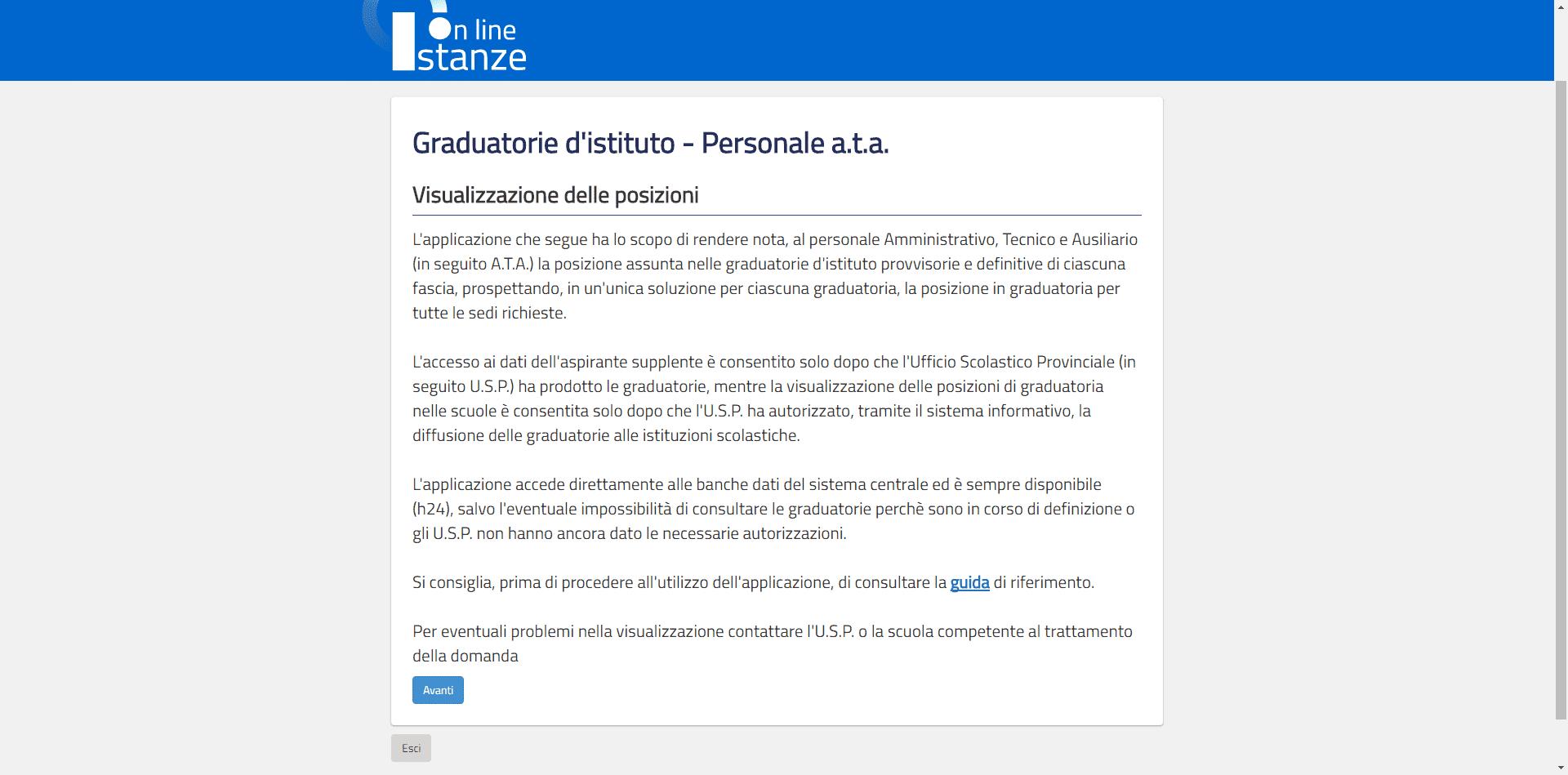 Graduatoria di istituto e personale ata