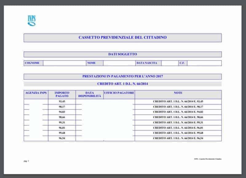 """Salva o Stampa il documento dettagliato con le date di pagamento del Bonus """"Renzi"""" sulla Naspi"""