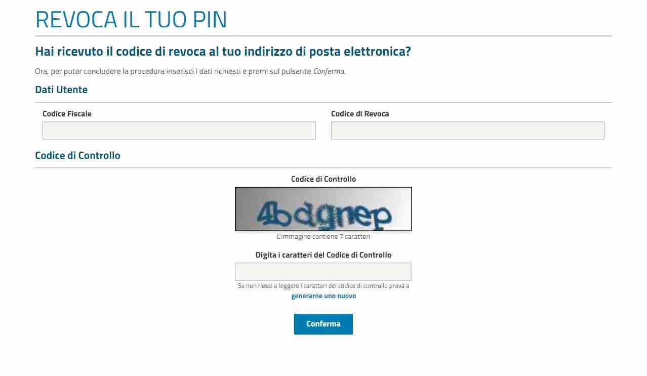 Revoca il Pin Inps con il servizio online Inps