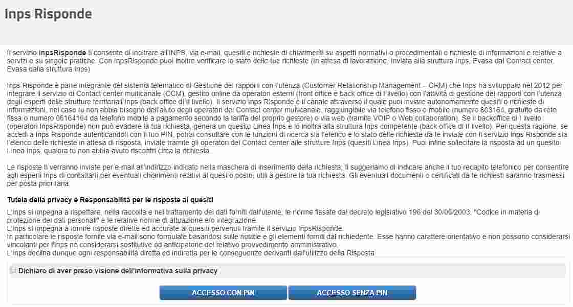 Inps Risponde online con Pin Inps e senza Pin Inps