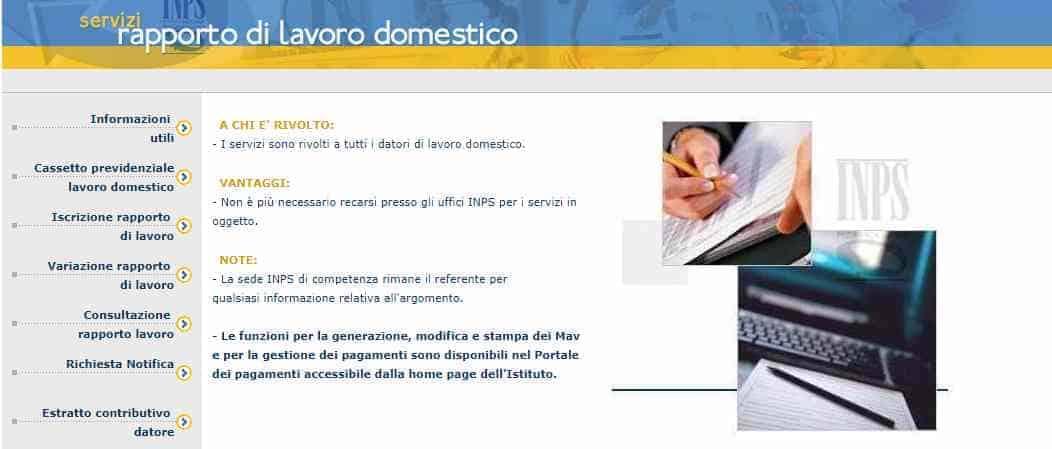 Servizi Inps Rapporto di lavoro domestico