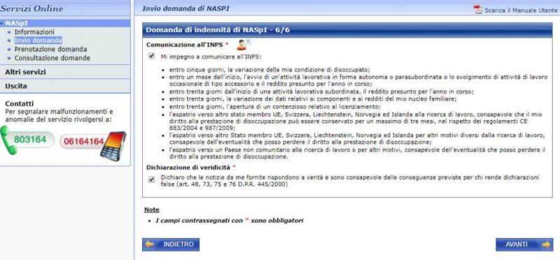 Domanda di disoccupazione Naspi comunicazioni all'Inps
