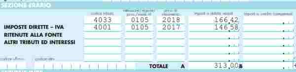 Acconti d'imposta anno precedente