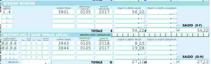 Acconti d'imposta addizionali comunali anno precedente