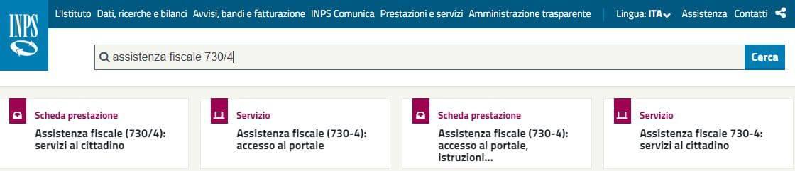 Assistenza fiscale 730/4 servizio Inps