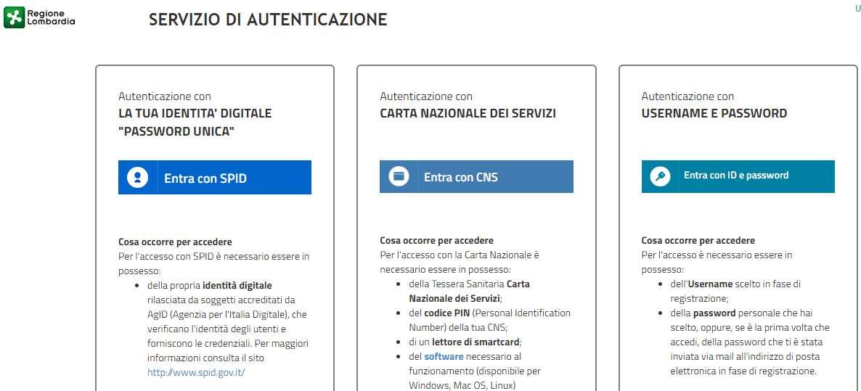 Servizio di autenticazione Regione Lombardia