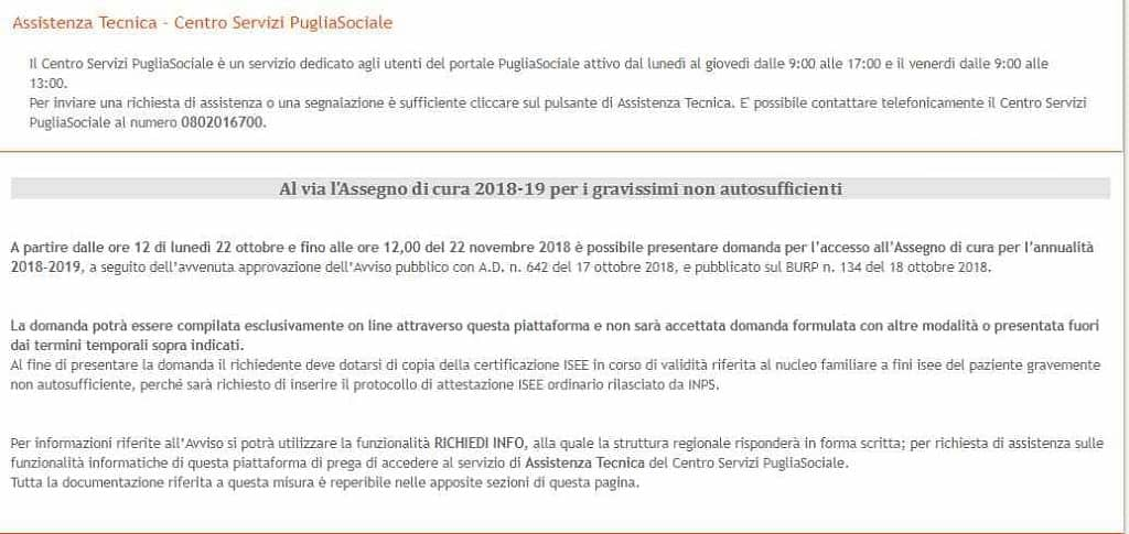 Domanda Assegno di cura 2018 Regione Puglia