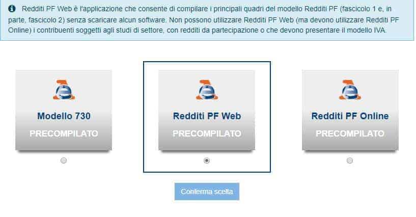 Modello Redditi persone fisiche Web