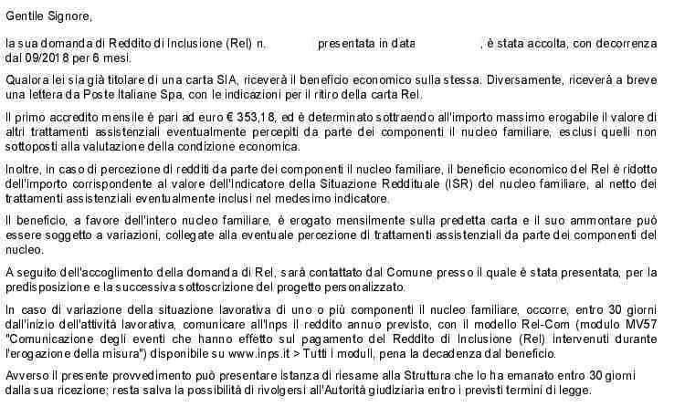 Lettera REI reddito di inclusione Inps