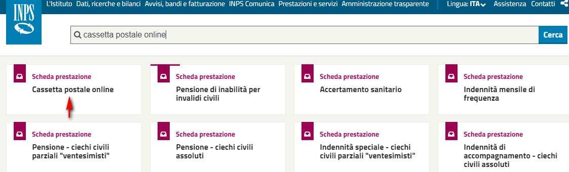 Servizio Inps Cassetta Postale online