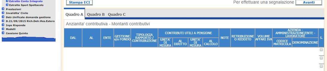 Estratto contributivo integrato Inps