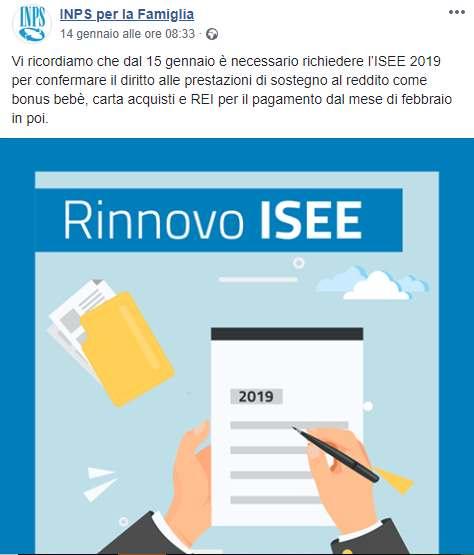 Inps famiglia 2019 comunicato pagamenti REI