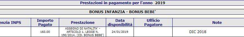 Fascicolo Previdenziale Inps - Pagamenti Bonus Bebè Gennaio 2019
