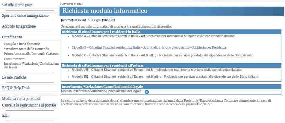 Domanda Cittadinanza italiana