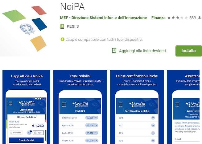 Consultazione pagamenti Noipa Google Play