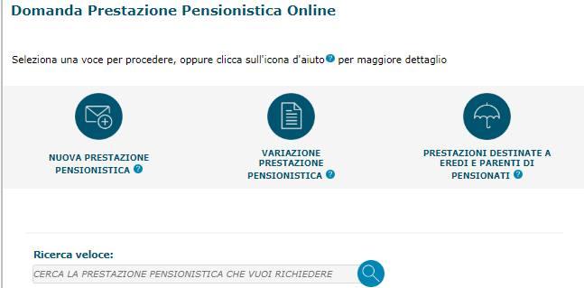 Domande prestazioni pensionistiche