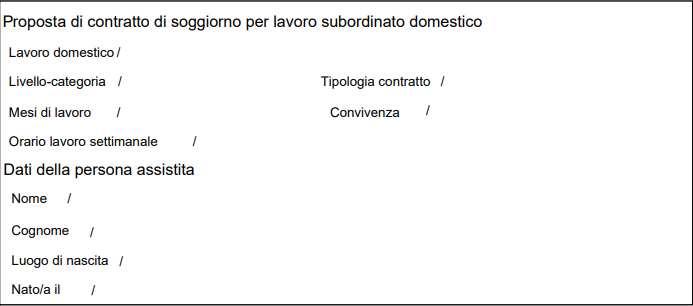 Proposta di contratto di soggiorno per lavoro subordinato domestico