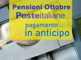 Anticipo pagamento Poste Italiane Ottobre 2020 pensioni inps