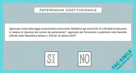 Fac-simile scheda elettorale Referendum 2020