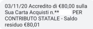 Accredito 80 euro sulla sua Carta Acquisiti Novembre 2020