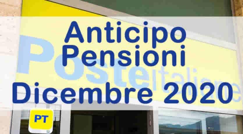 Anticipo Pagamenti pensioni dicembre 2020 Poste