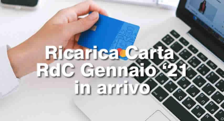 Accredito ricarica Rdc Gennaio 2021